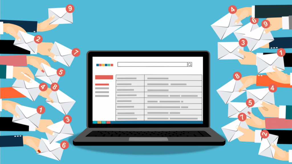 email icons with unread notifications and clip art of gmail