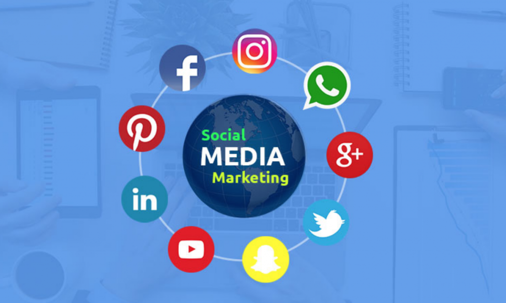 a sphere showing multiple social media icons