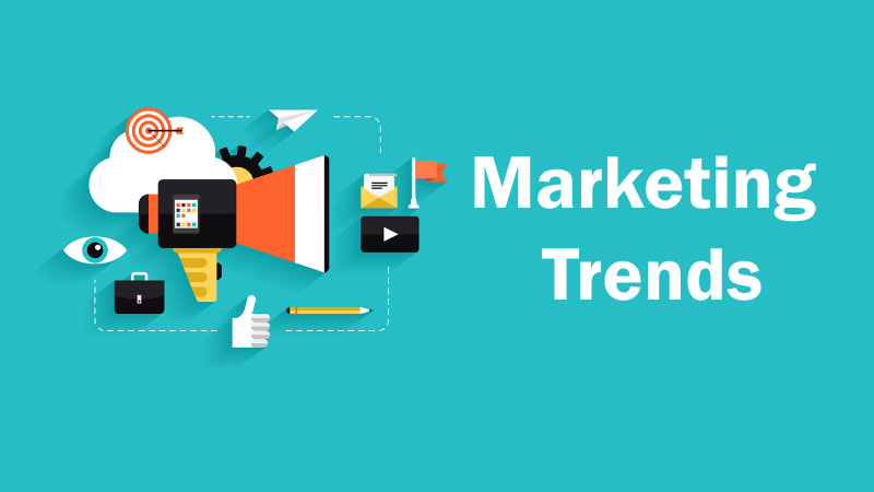 marketing trends header image with marketing icons